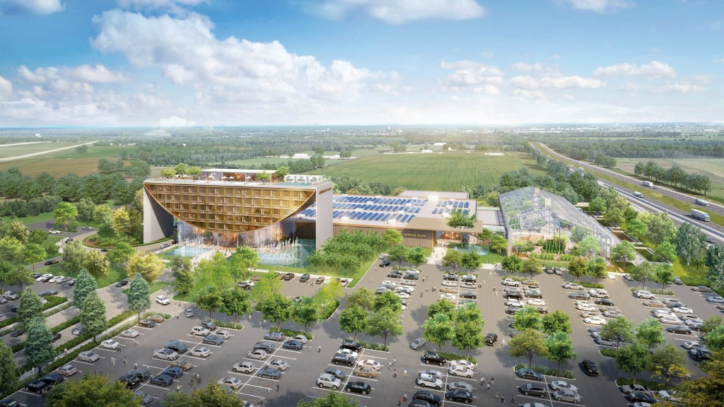 Artist rendering of proposed Full House Resort Casino in Terre Haute.  $250 million dollar casino with year round greenhouse and enclosed restaurants, a solar farm to generate electric to help power the casino, and a hotel with a rooftop pool and restaurant.