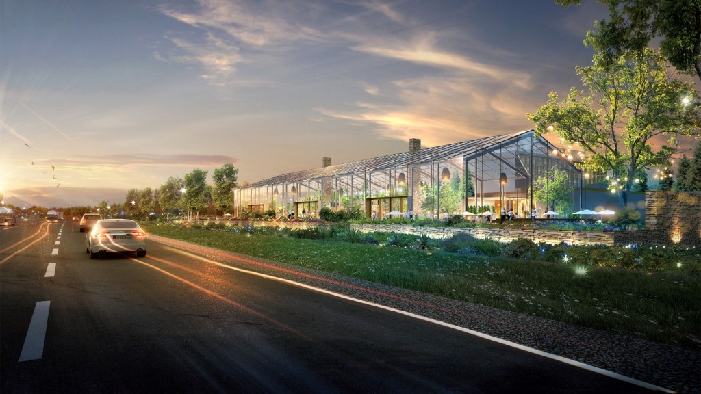 Huge GreenHouse as part of the proposed Full House Resorts Casino in Terre Haute.  A year around green space with restaurants located inside.
